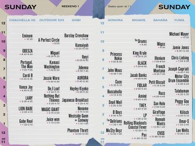 Coachella Set Times Sunday 2018 Eminem Headliner