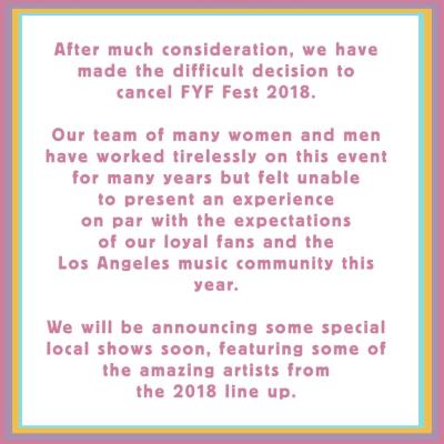 FYF Fest 2018 Los Angeles Exposition Park Music Festival Canceled