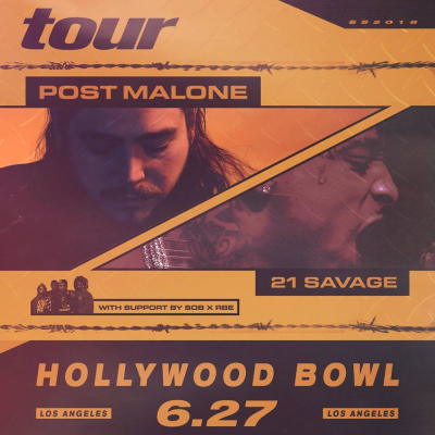 Post Malone 2018 Los Angeles Hollywood Bowl 21 Savage SOB x RBE Beerbongs And Bentleys