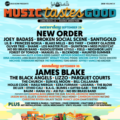 Music Tastes Good 2018 Music Festival Lineup Los Angeles Marina Green Park Long Beach Tickets September Lineup James Blake New Order