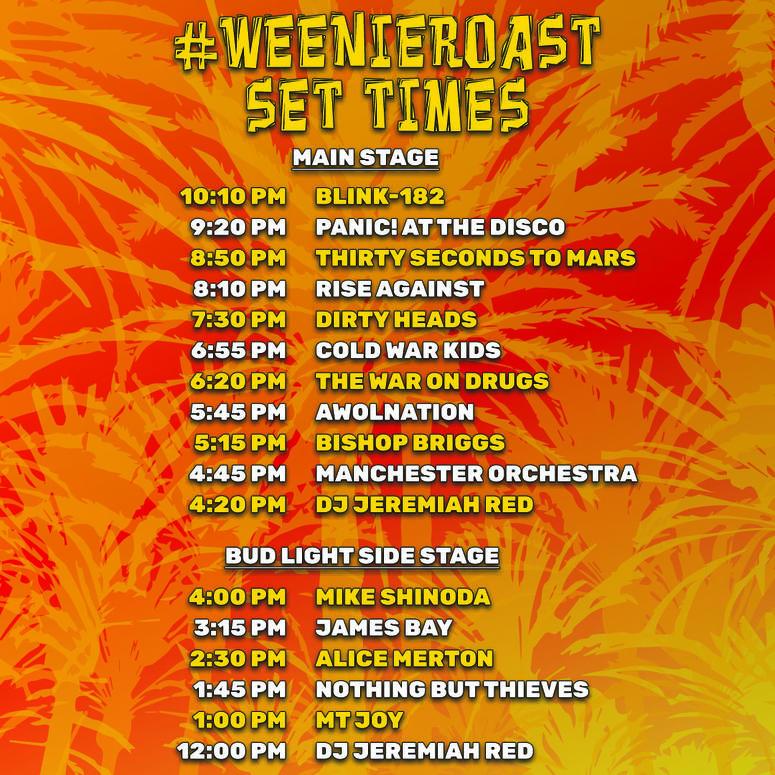 Set Times KROQ Weenie Roast 2018 Los Angeles StubHub Center Carson 30 Seconds To Mars The War On Drugs Bishop Briggs Blink-182 Mike Shinoda Linkin Park Cold War Kids