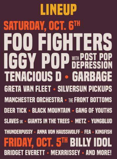 Cal Jam 2018 Music Festival Glen Helen Regional Park Foo Fighters Billy Idol Iggy Pop Tenacious D Greta Van Fleet Garbage Silversun Pickups Gang Of Youths Lineup Poster