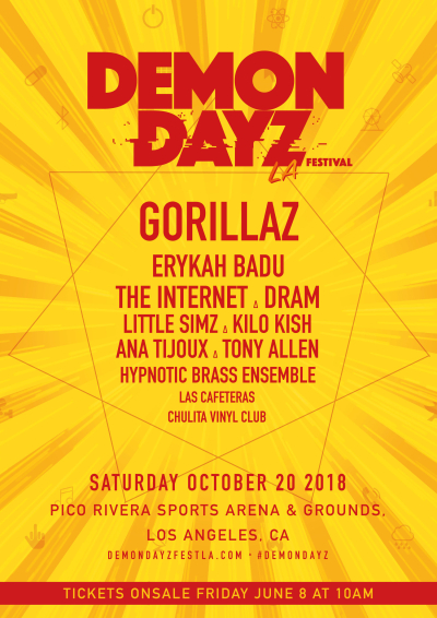 Demon Dayz Poster 2018 Los Angeles Pico Rivera Sports Arena And Grounds Music Festival Gorillaz Erykah Badu The Internet Tony Allen