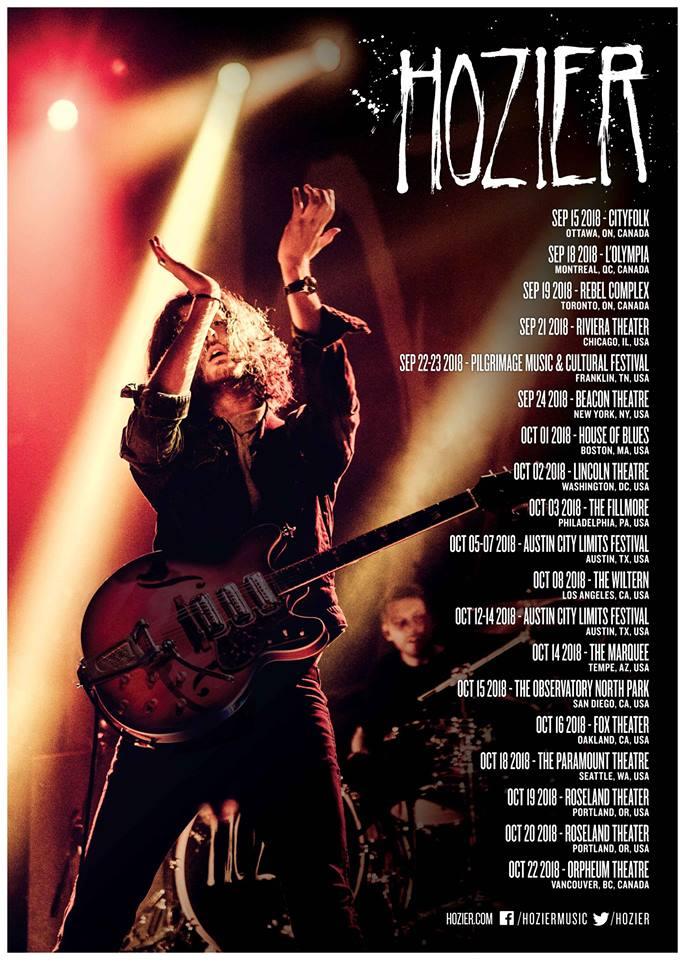 Hozier Tour Poster 2018 Los Angeles Wiltern Koreatown