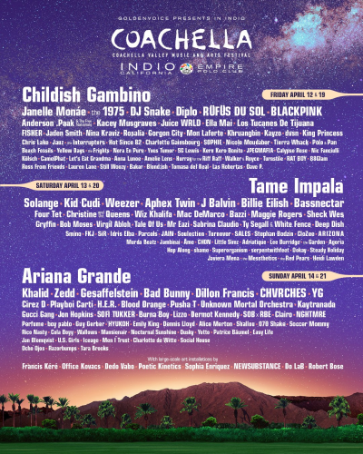 2019 Coachella Lineup Empire Polo Club Music And Arts Festival Headliners Indio Ariana Grande Tame Impala Childish Gambino Music Poster