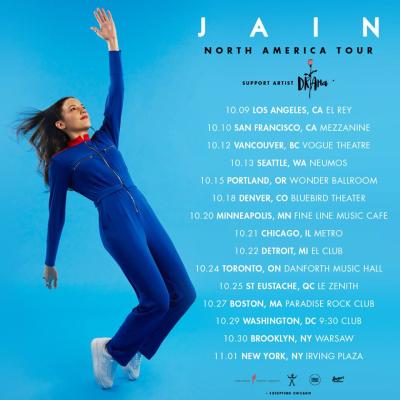 Jain Tour Poster 2018 Los Angeles El Rey Theatre Zanaka Drama