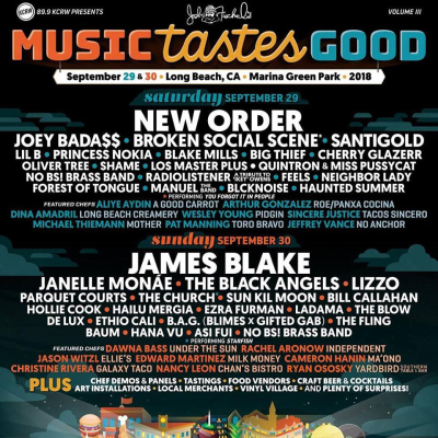 Music Tastes Good 2018 Lineup Poster Music Festival Lineup Los Angeles Marina Green Park Long Beach Tickets September Headliner