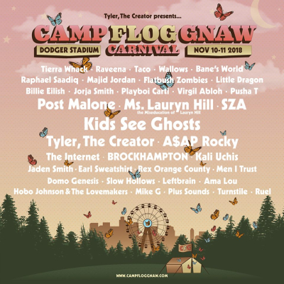 Camp Flog Gnaw Carnival 2018 Los Angeles Dodger Stadium Kids See Ghosts Kanye West Kid Cudi Post Malone Ms Lauryn Hill SZA Tyler The Creator