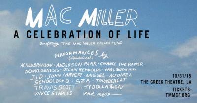 Mac Miller 2018 Los Angeles Greek Theatre Los Feliz Tribute Action Bronson Anderson Paak Chance the Rapper Dylan Reynolds Domo Genesis Earl Sweatshirt J.I.D John Mayer Miguel Njomza ScHoolboy Q SZA Thundercat