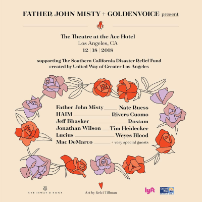 California Wildfires Benefit Concert Goldenvoice Los Angeles Theatre at Ace Hotel Downtown Father John Misty HAIM Jeff Bhasker Jonathan Wilson Lucius Mac DeMarco Nate Ruess Rivers Cuomo Rostam Tim Heidecker Weyes Blood United Way