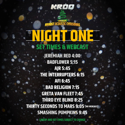 KROQ Almost Acoustic Christmas Set Times (The Scenestar)