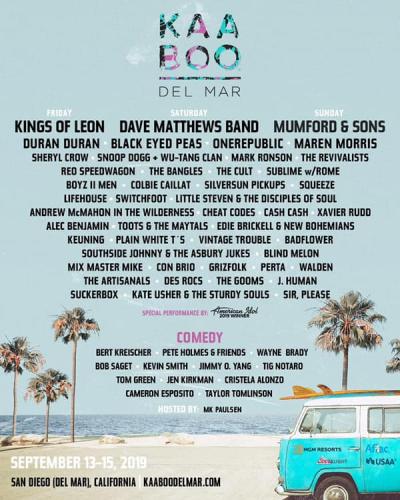 Kaaboo Del Mar Music Festival Lineup 2019