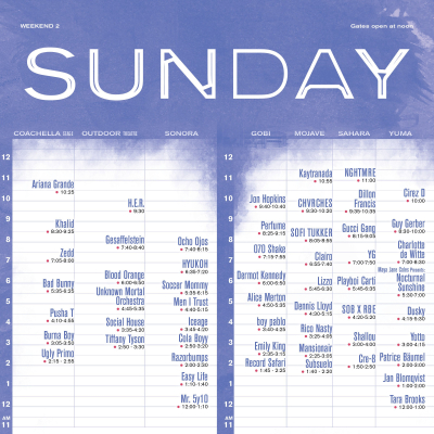 Sunday Set Times - Weekend 2