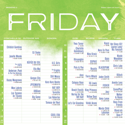 Friday Set Times - Weekend 2