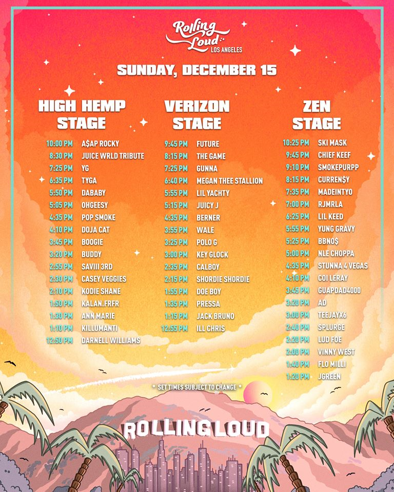 Rolling Loud Los Angeles Set Times 2019