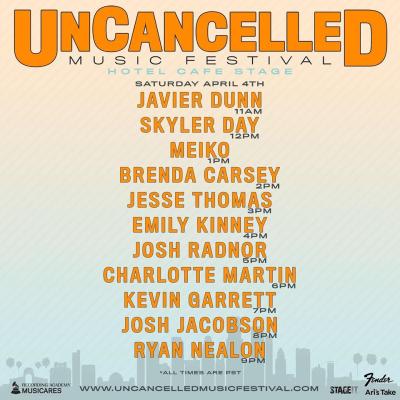 UnCancelled Music Festival Set Times Saturday April 4