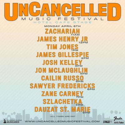 UnCancelled Music Festival Set Times Monday April 6