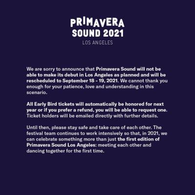 Primavera Sound 2021 Statement