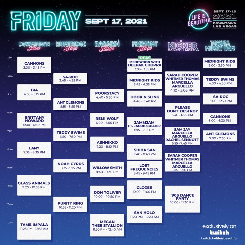 Life Is Beautiful Friday 2021 Set Times