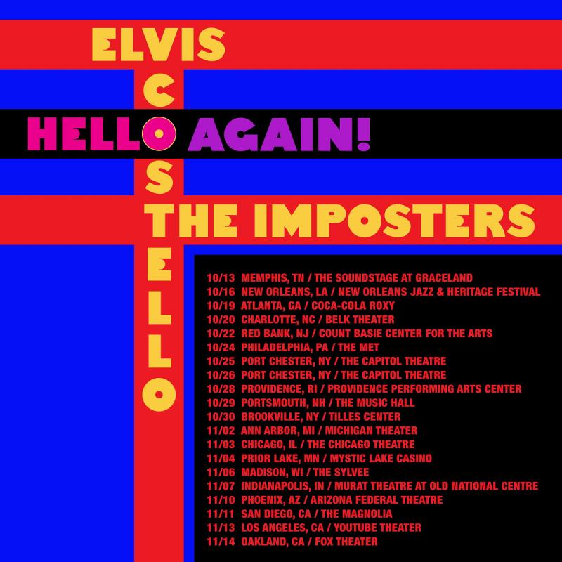 Elvis Costello Hello Again 2021 Tour