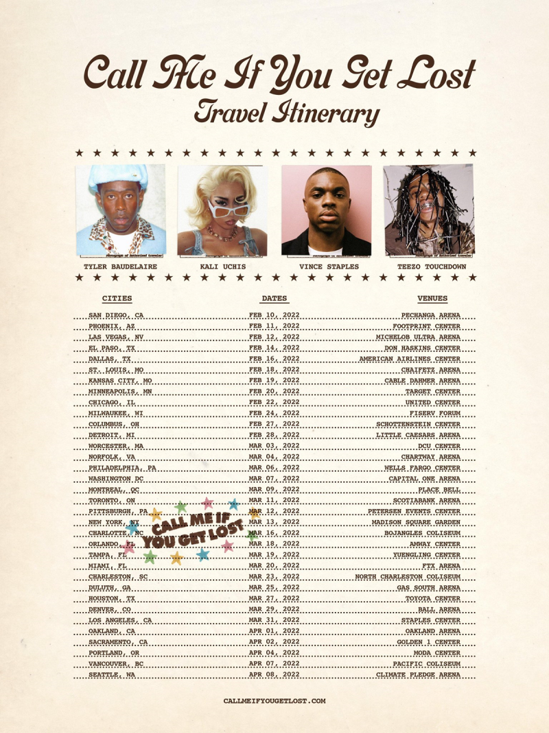 Tyler The Creator Call Me If You Get Lost 2022 Tour Travel Itinerary