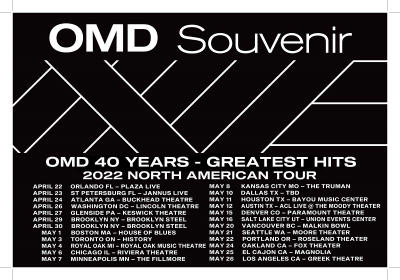 OMD Orchestral Maneuvers In The Dark Souvernir Greatest Hits North American Tour 2022
