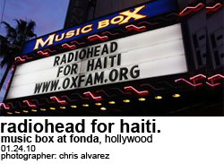 Radiohead for Haiti at the Fonda