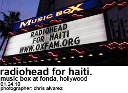 Radiohead for Haiti at the Fonda